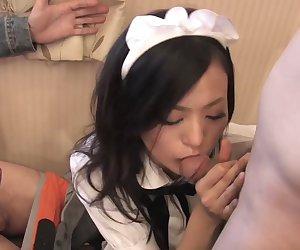 Japanese waitress fucks some guys