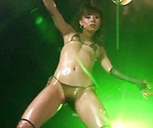 Petite japanese angel is dancing on the dance floor